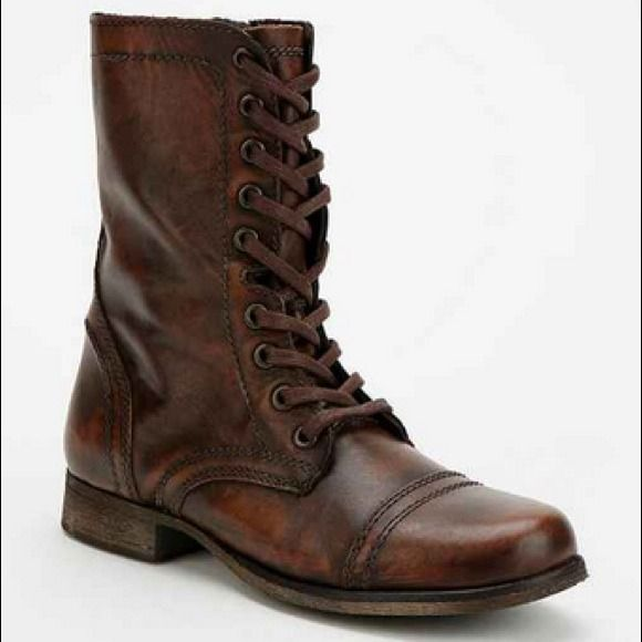 Brown Steve Madden Troopa Boots Heeled troopa lace-up boots, worn in. Feel free to make reasonable offers! Steve Madden Shoes