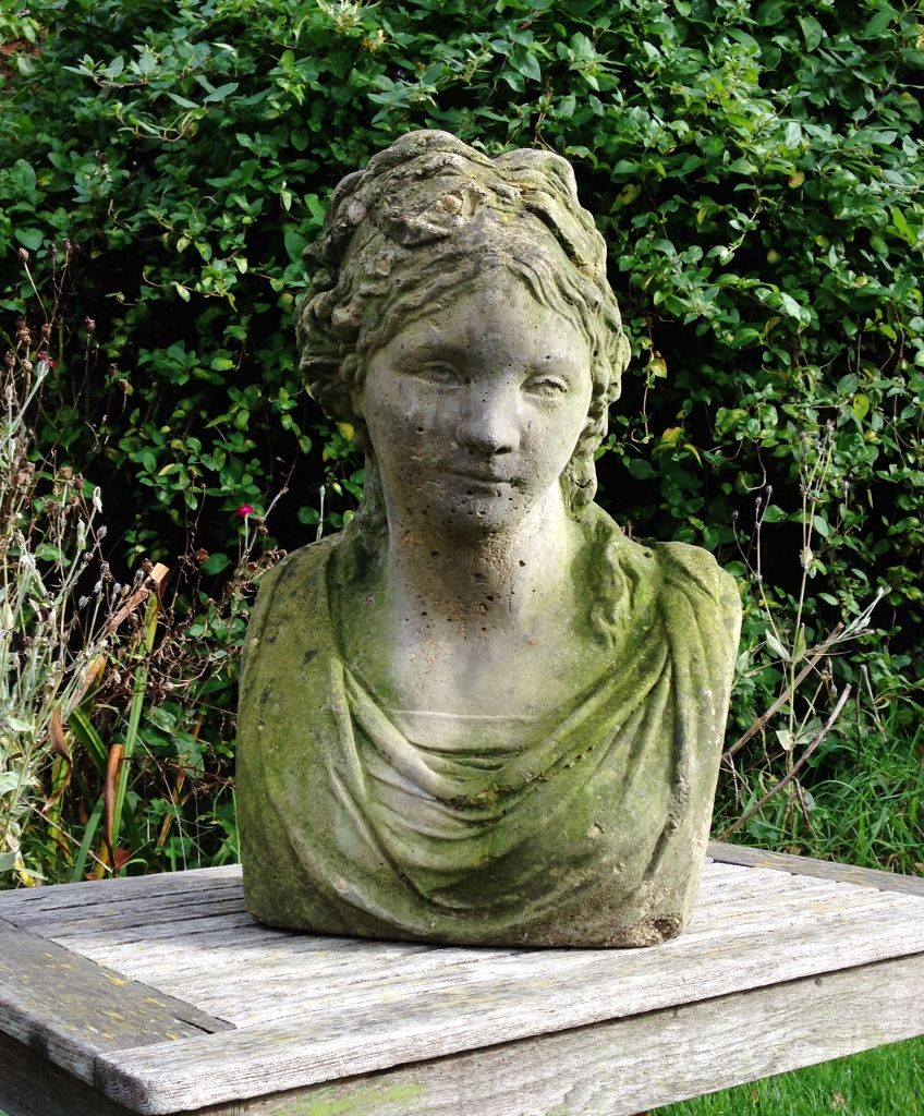 Female Bust In From The Vintage Garden Company Vintage Garden Outdoor Garden Statues Garden Statues