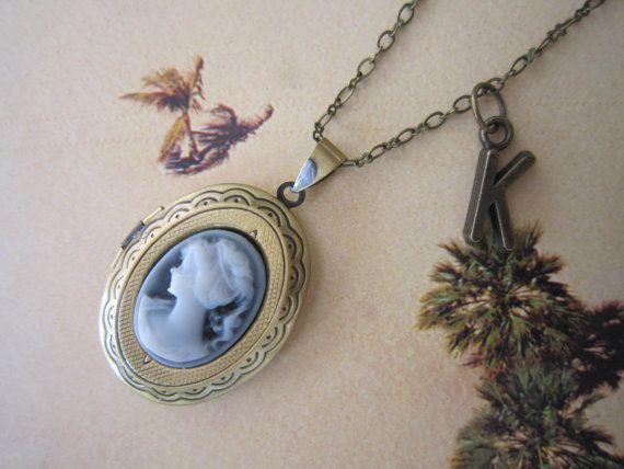 Bronze Oval Cameo Locket Necklace Initial Locket by PrettyDIY, $13.00