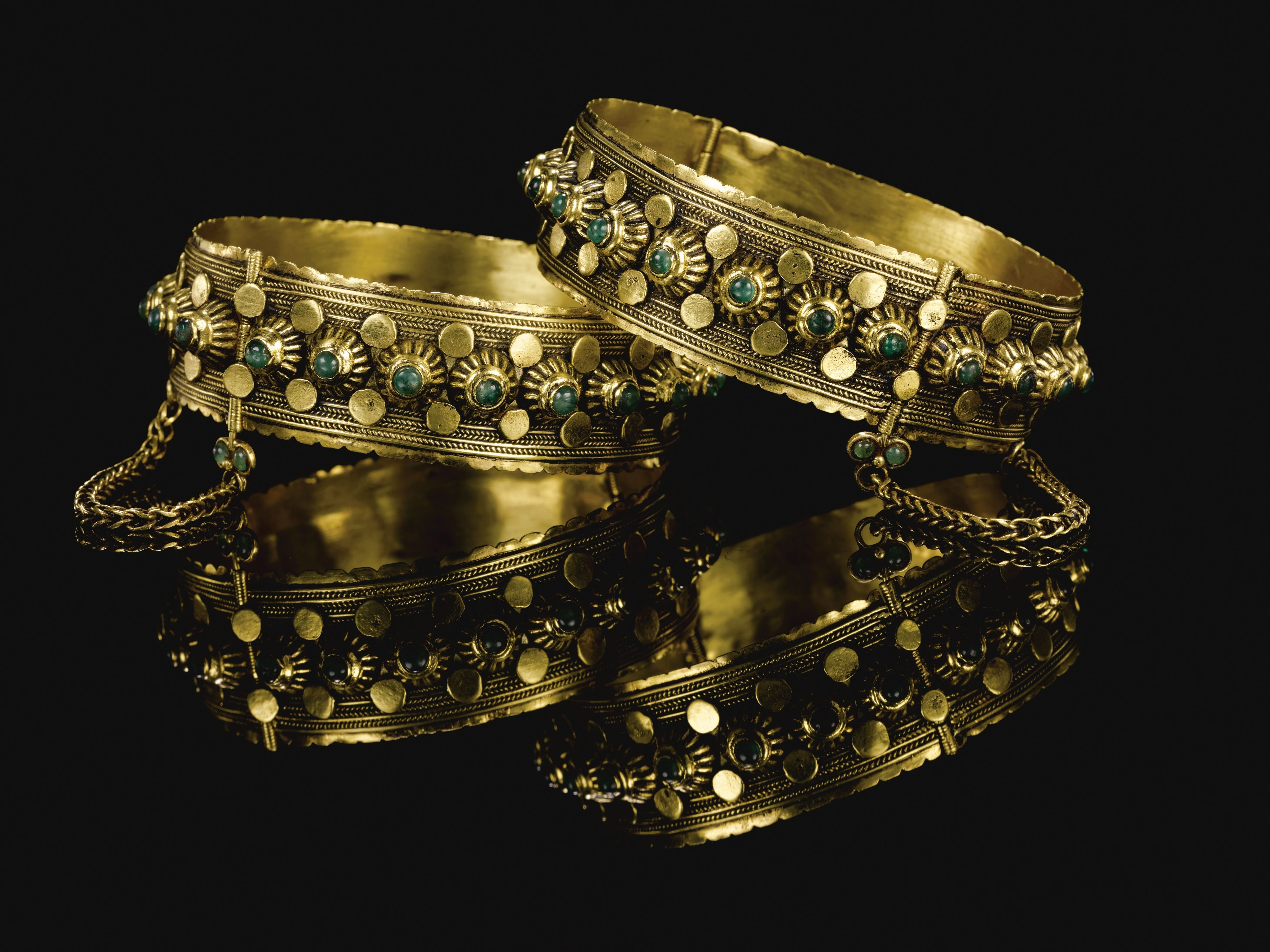 A Pair Of Emerald Set Gold Bracelets Morocco 18th Century Lot Sotheby S Moroccan Jewelry Jewelry Gold Bangles Design