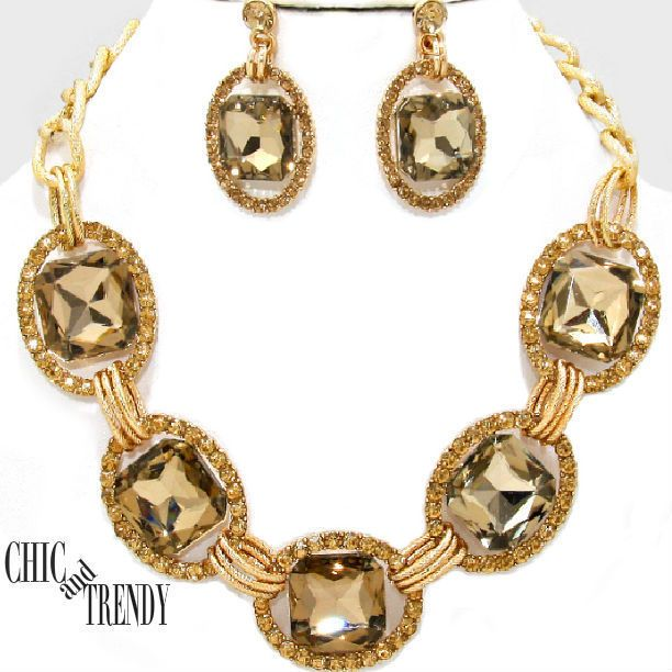 High end gold chunky crystal wedding formal necklace jewelry set