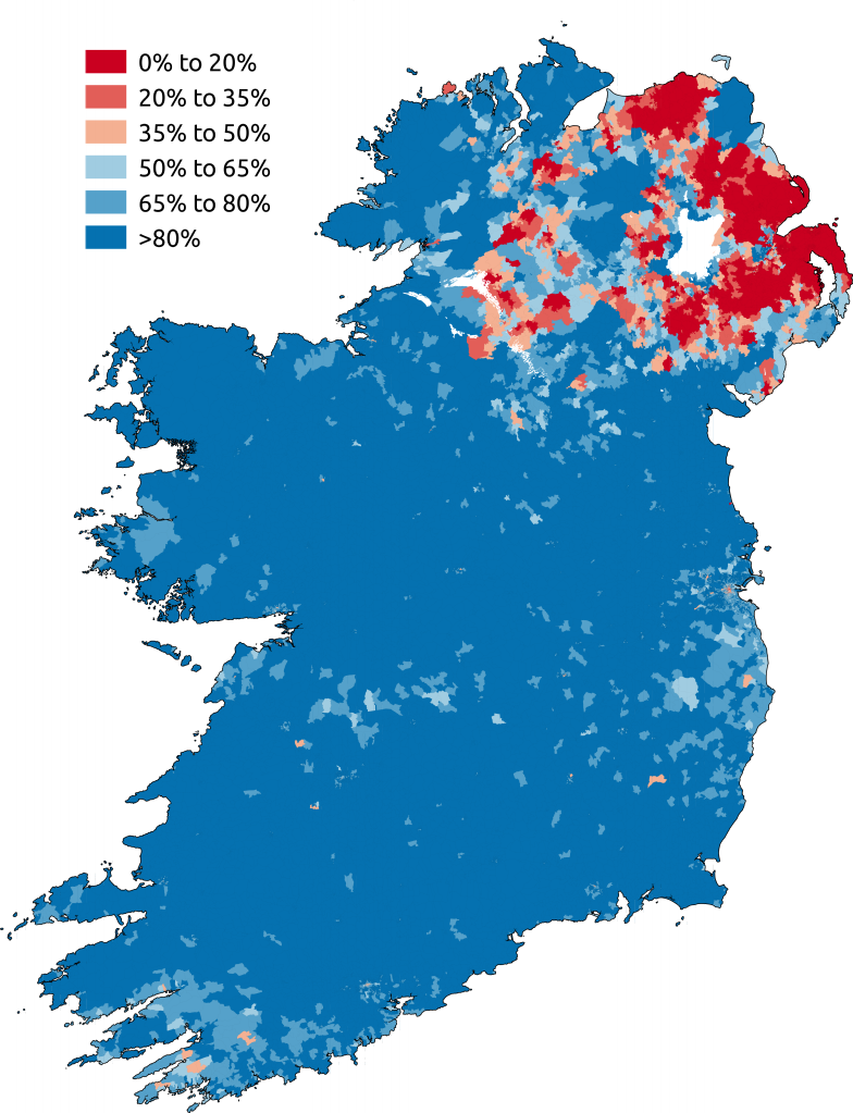 proportion of respondents to the ireland census 2011 or the