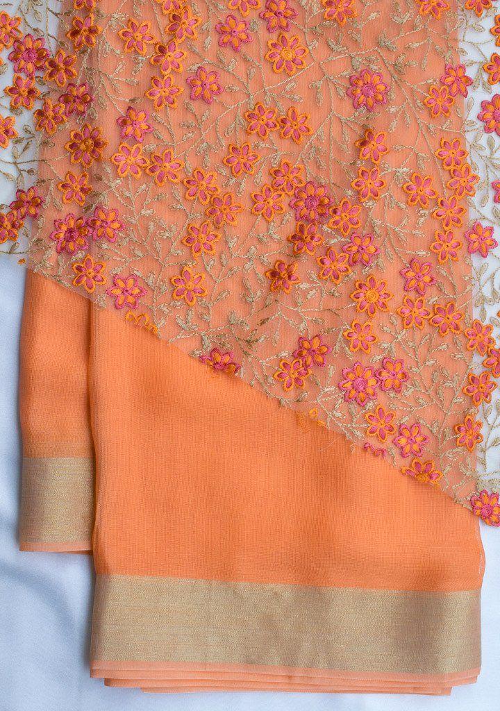 dfaa73d5d33a1f Orange Jute saree with net blouse piece   The Sari   Jute sarees ...