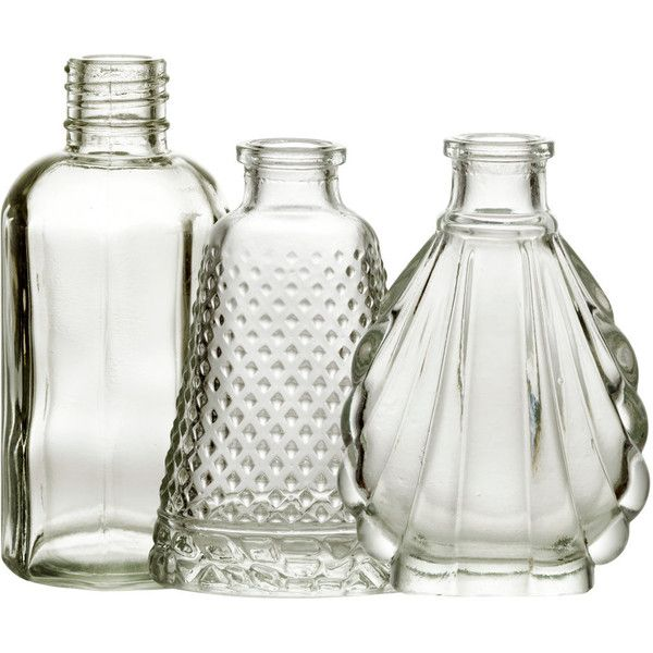 H&M 3-pack mini vases (16 CAD) ❤ liked on Polyvore featuring home, home decor, vases, interior, clear glass, miniature vase, h&m and mini vases
