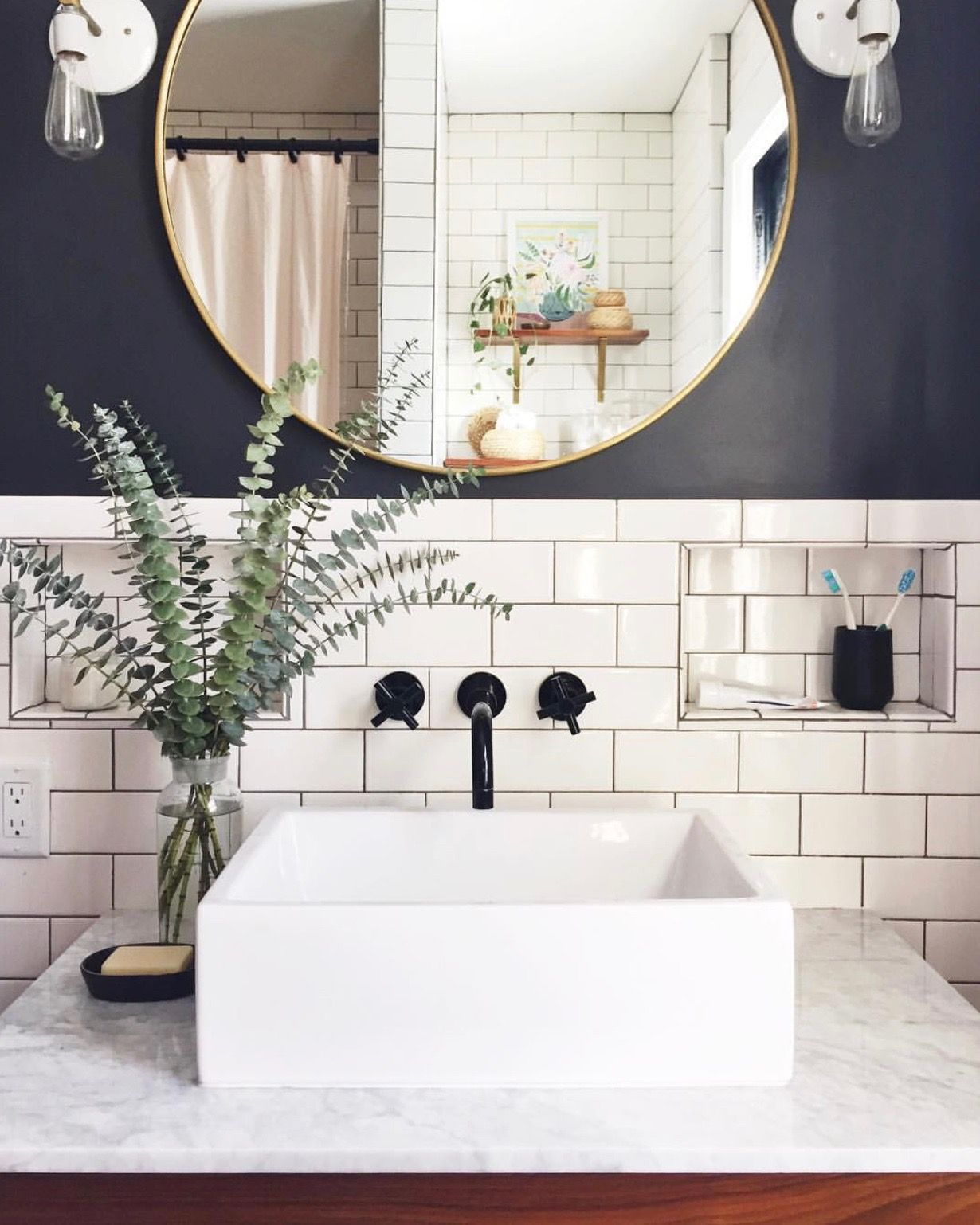 love vessel sinks and wall mounted faucets | Gray and white