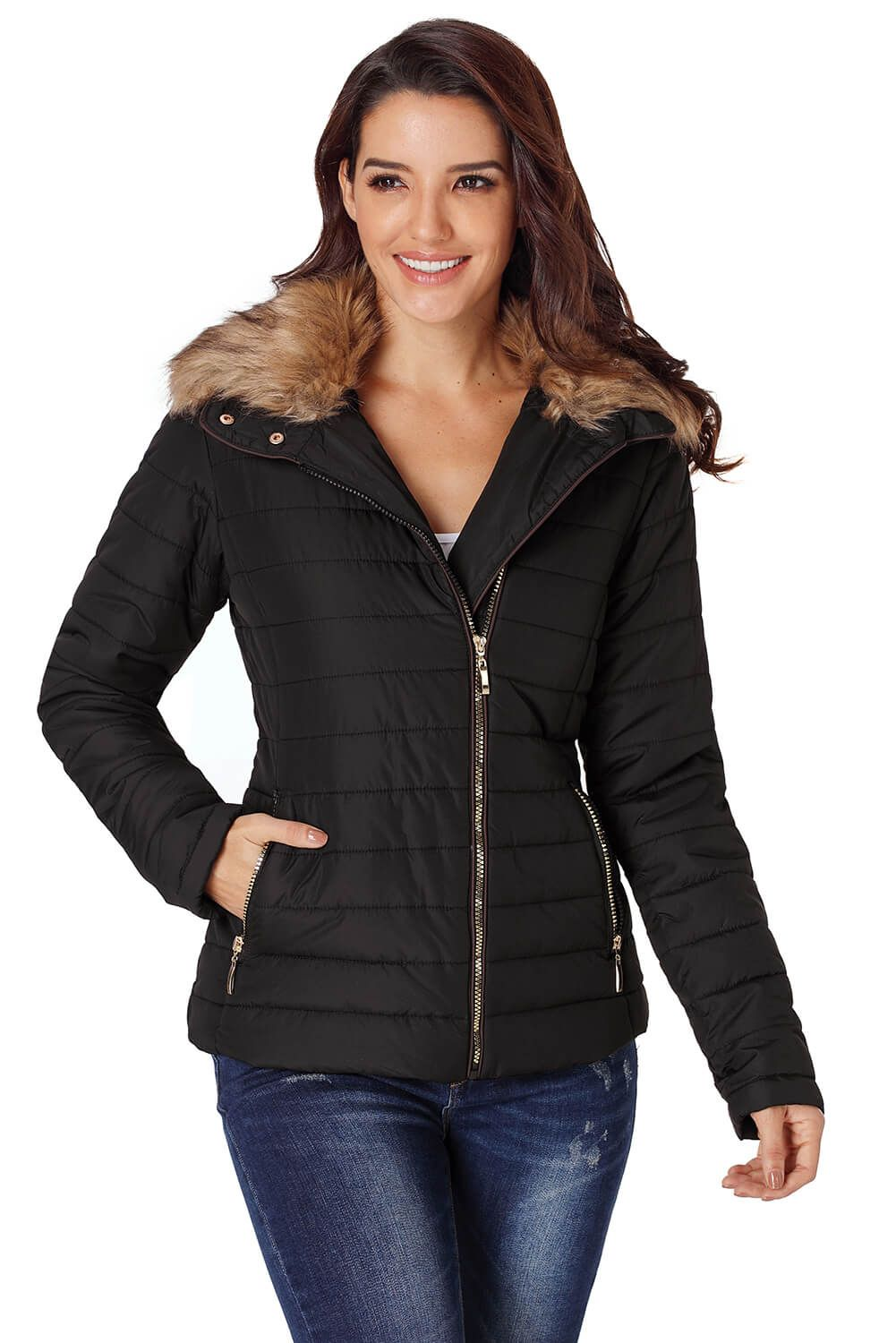 Black Quilted Trim Collar Faux Fur Jacket Black quilted