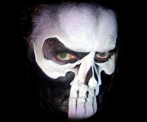 Halloween Face Paint Men Scary Skull Black White Face Painting