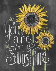 """Uma cópia caprichosa perfeita para um quarto de criança ou um berçário - """"You Are My Sunshine"""" é uma letra de mão em meio a belas ilustrações de girassol e digitalmente convertida para impressão.  Disponível em cores ou bl"""