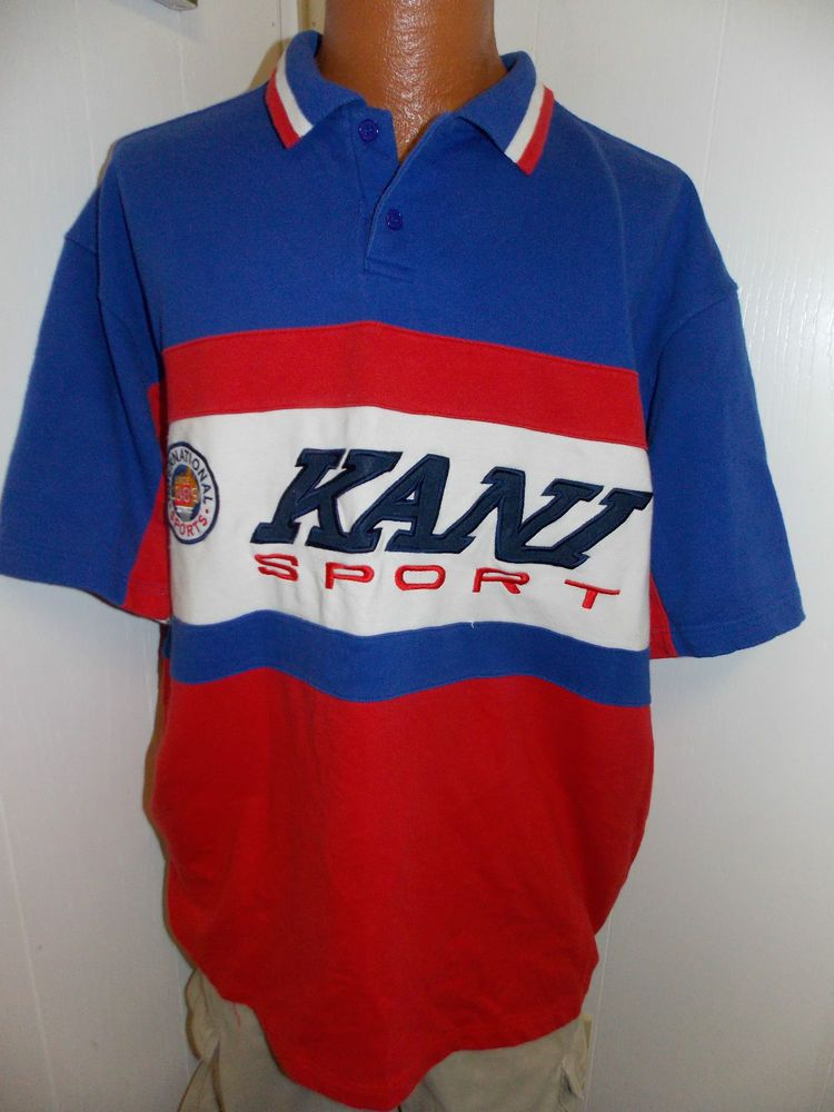Popular Vintage Karl Kani Sport Polo Rugby Style Short Sleeve Mens Shirt  PI06