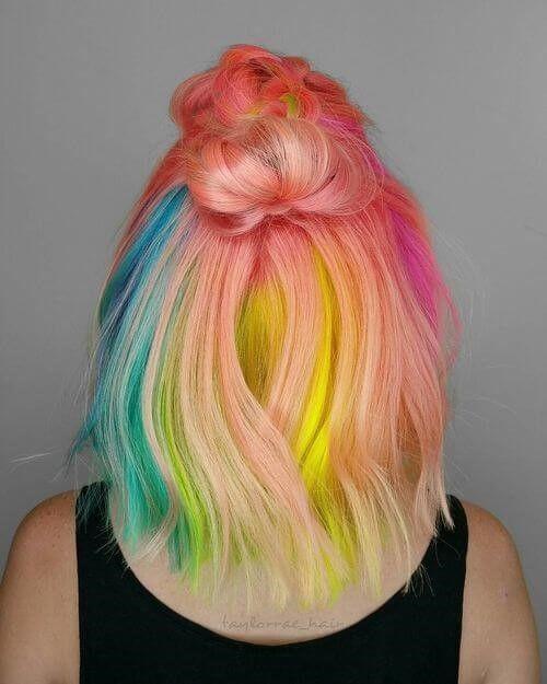 24 Wonderful Rainbow Hair Color Ideas Hairiz Peach Hair Colors Hair Dye Tutorial Pastel Rainbow Hair