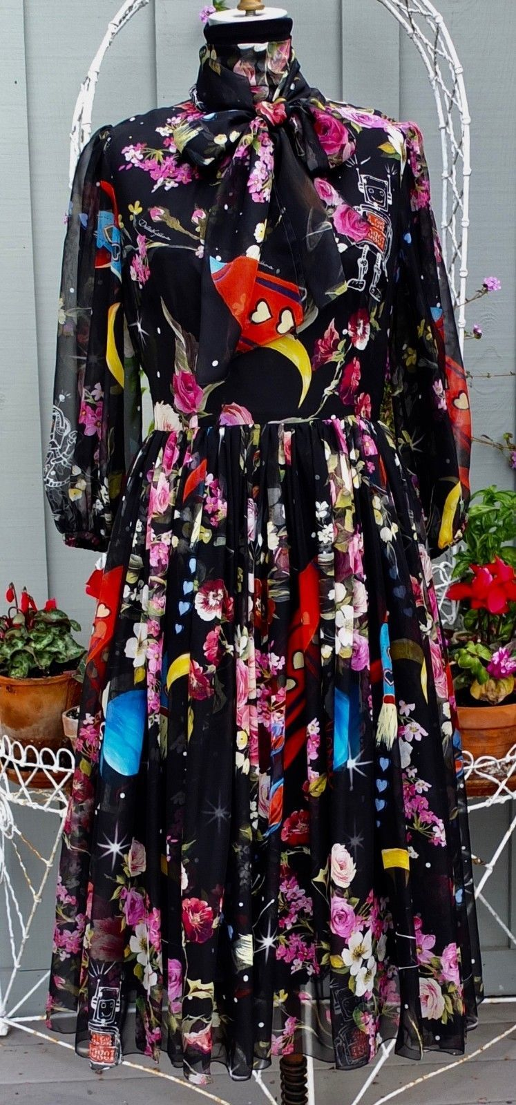 1ff09be7 Dolce & Gabbana Love Robot Outer Space Print Silk Dress With Bow Size 42 Or  US 6