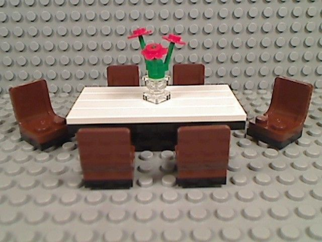 Lego White Table Top Dining Room Set Chairs Vase Flowers