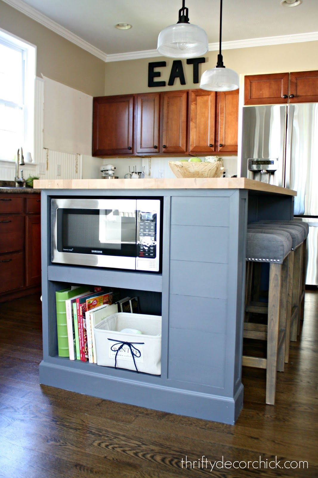 Microwave In The Island Finally Kitchen Remodel Diy