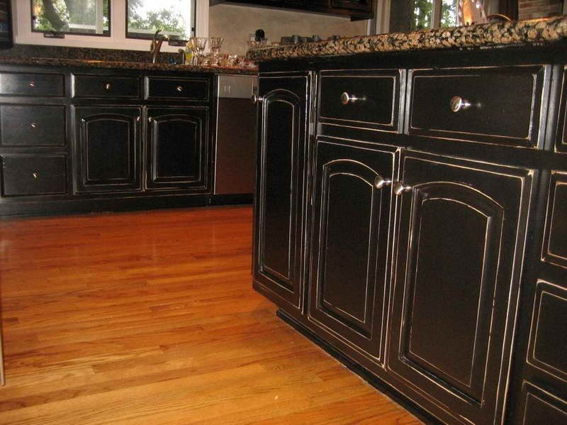 Furniture , Suave Distressed Black Kitchen Cabinets : Distressed Black  Kitchen Cabinets In Traditional Kitchen With Granite Countertop