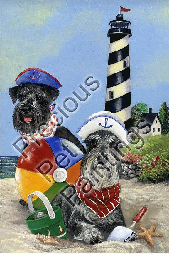 Schnauzer Beach Buddies GF: X Garden Size Flag.