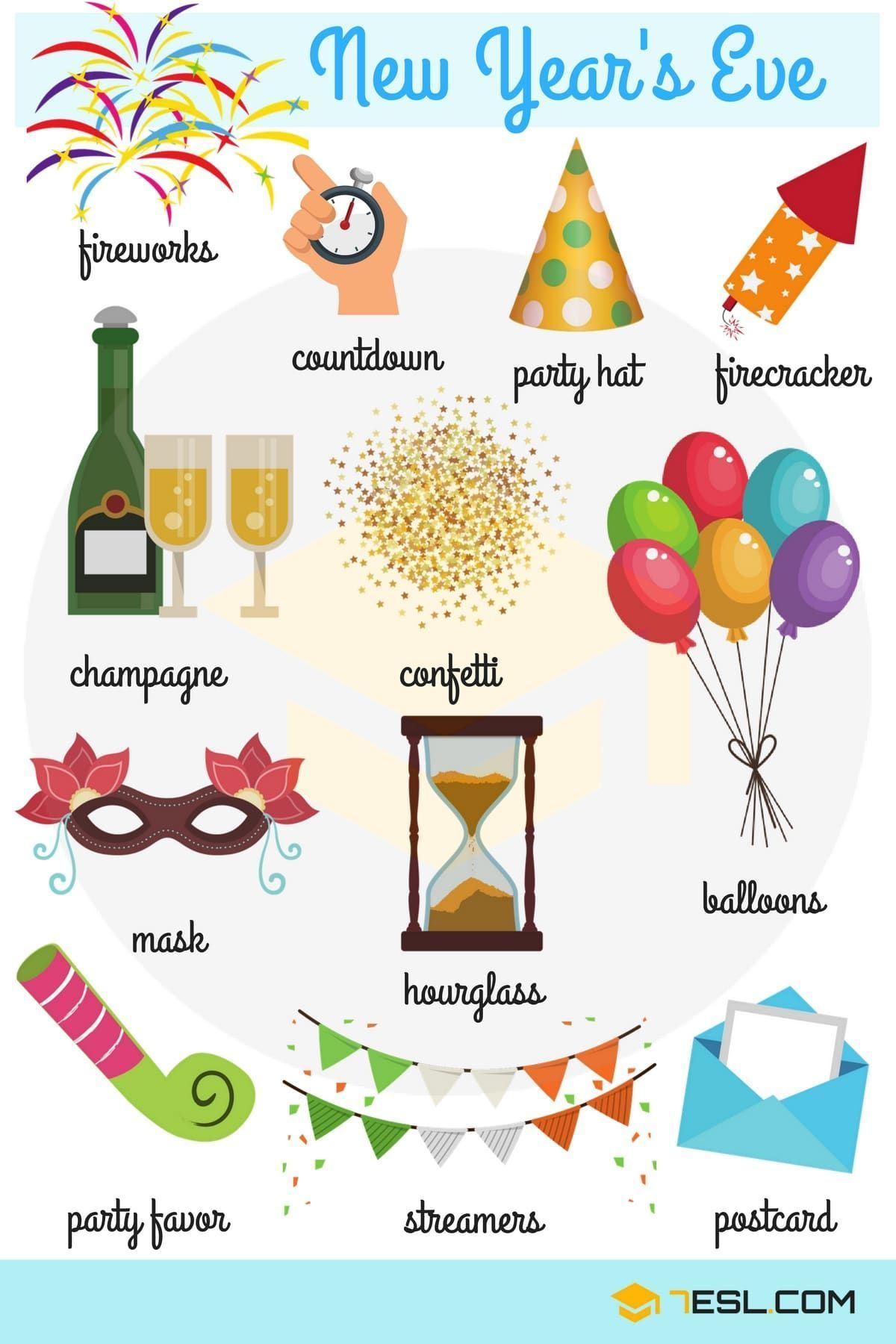 New Year's Eve Vocabulary Verbos para niños, Vocabulario