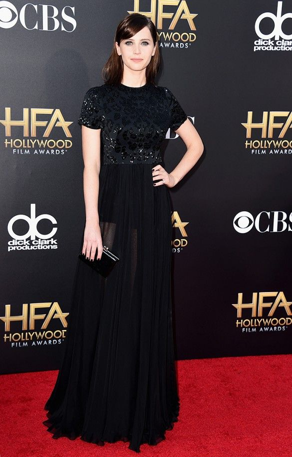 Felicity Jones wore a black Alexander McQueen embroidered gown to the Hollywood Film Awards.