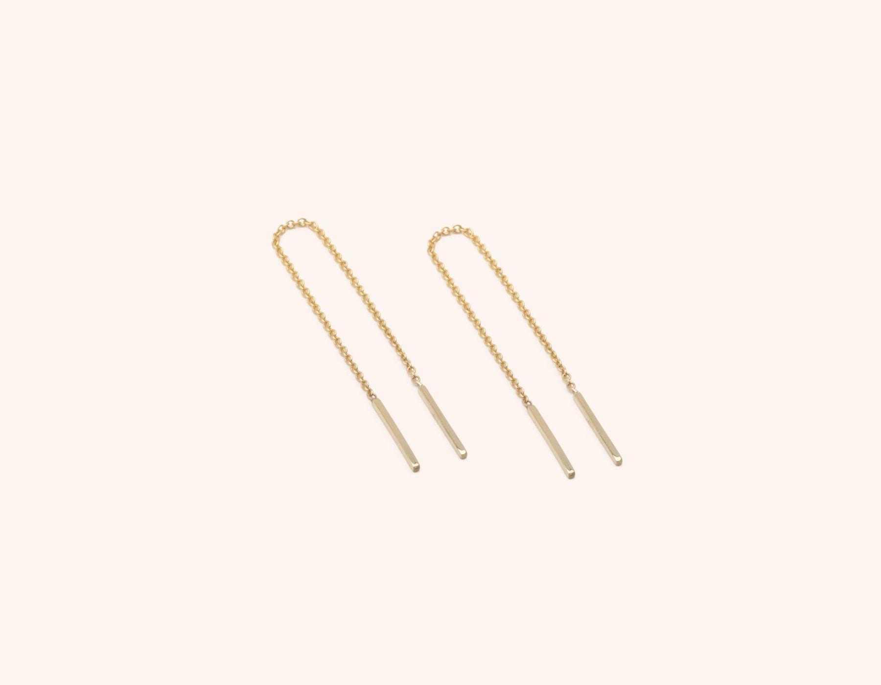 d0350ebe836f30 Vrai & Oro dainty minimalist 14K Solid Gold Line Threader Chain Earrings,  14K Yellow Gold