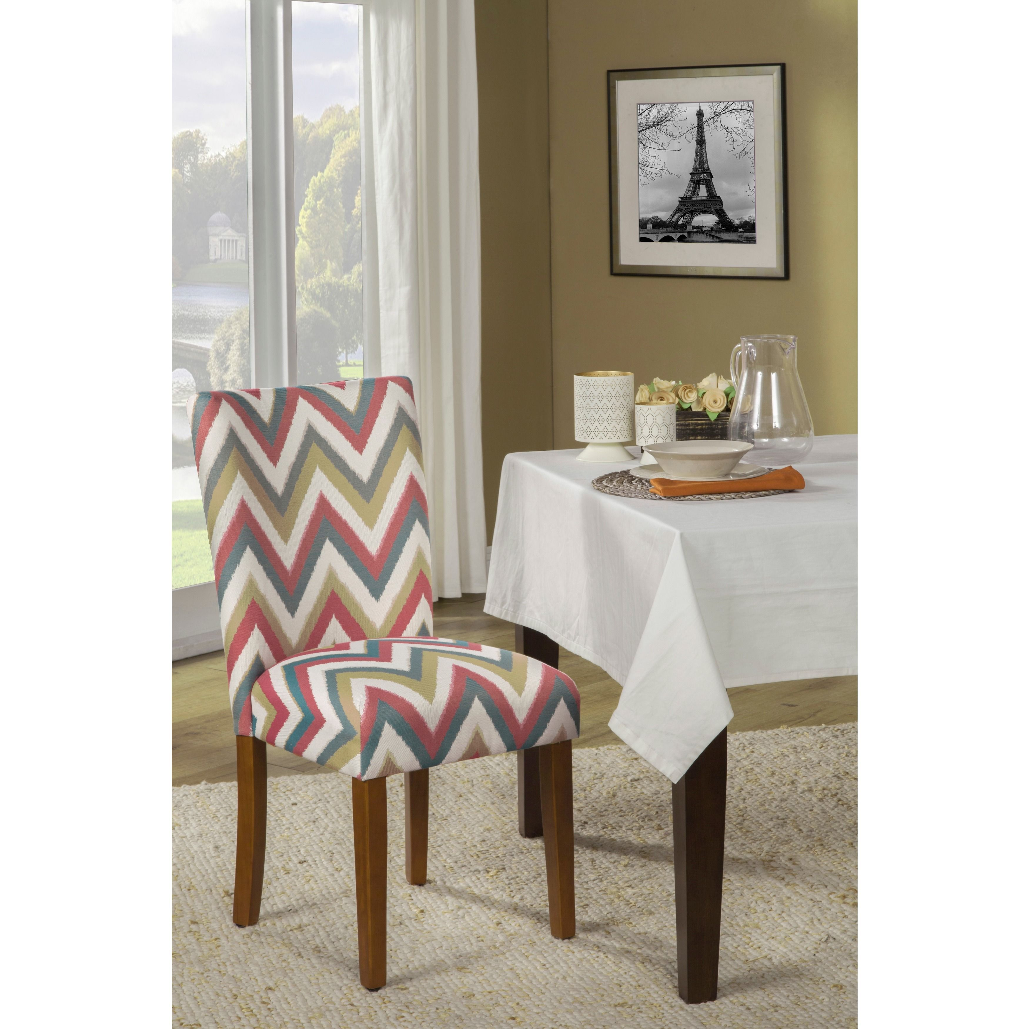 Kinfine USA Parson Chevron Dining Chair (Set Of 2) (Gray And White Chevon),  Grey (Wood)