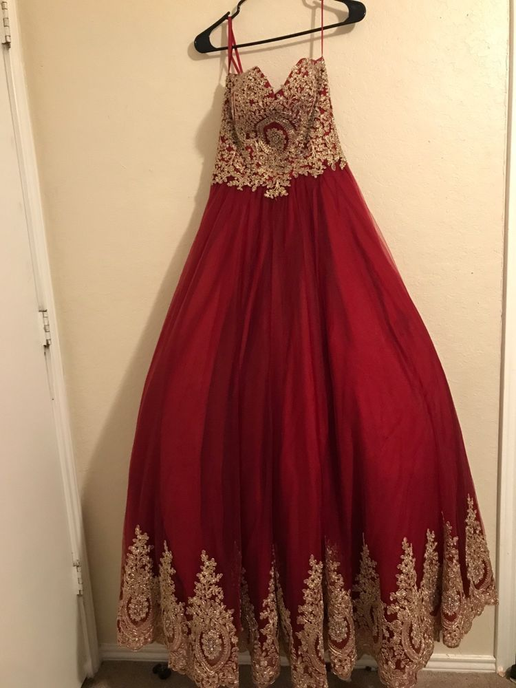 447aee0fc4099 Slightly used burgundy Quinceanera dress with gold details at the bottom  and top  fashion  clothing  shoes  accessories  womensclothing  dresses  (ebay link)
