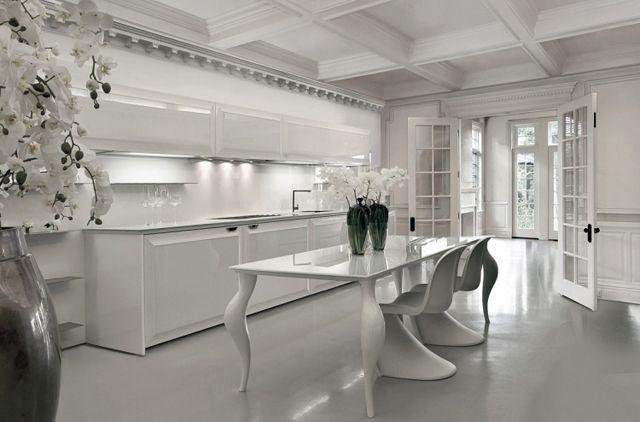 Cuisine Minimaliste Au Design Contemporain En Blanc Cuisine