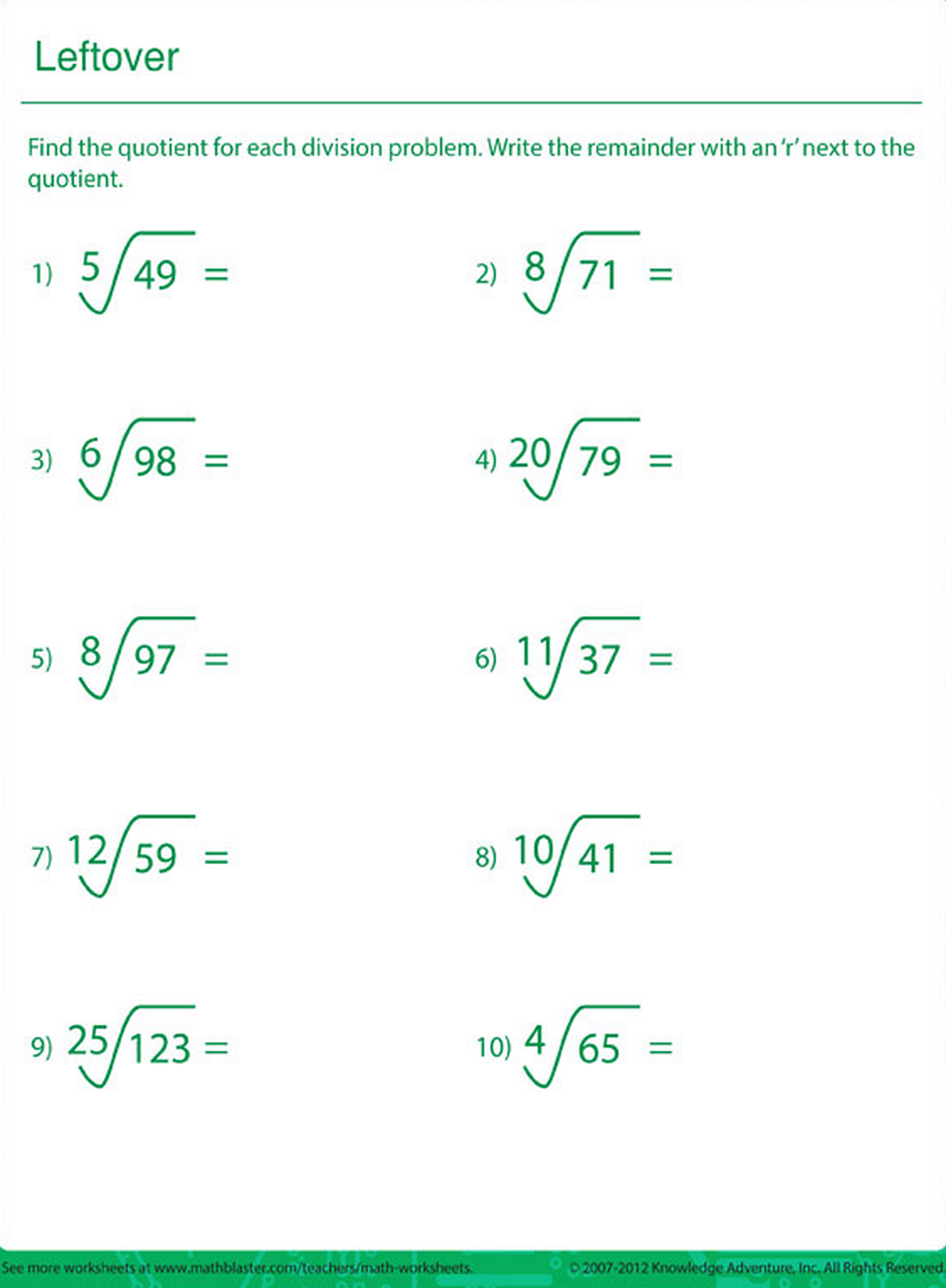 hight resolution of Division worksheet
