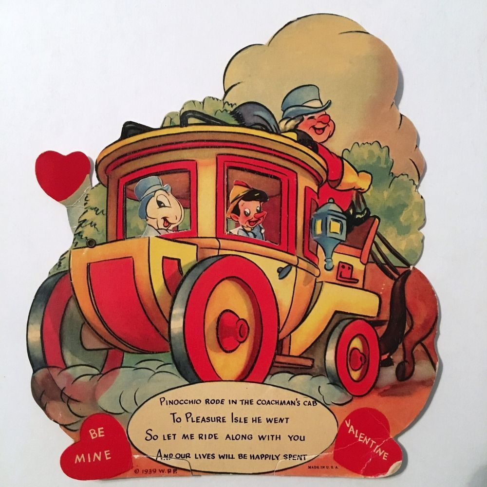 1939 Disney Pinocchio Animated Valentine Day Card Disneyana