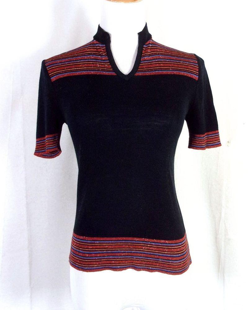 Vtg 60s 70s Sheridan Retro Striped Space Dye Top Blouse Knit Shirt