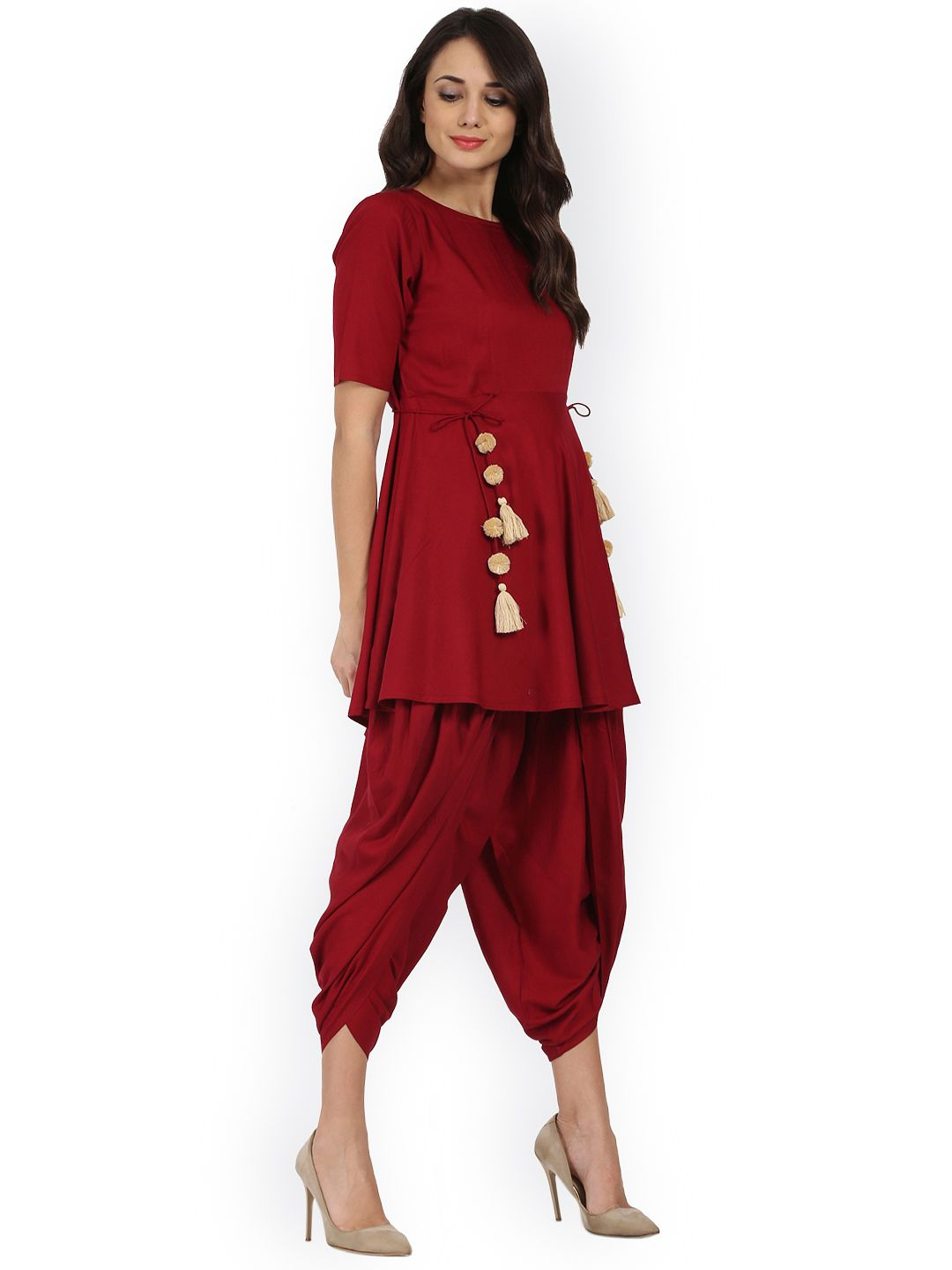 c87f5d09876f Buy Nayo Women Maroon Solid Kurta With Dhoti Pants - Kurta Sets for Women  2309409 | Myntra