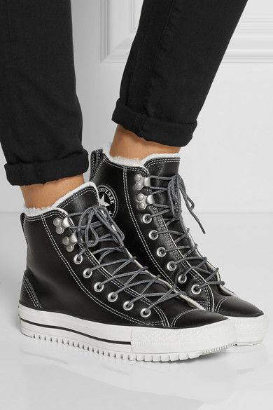 2016 Converse All Star Ox Leather Men's Black Black Long