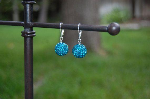 Rhinestone Sphere Drop Earrings on Etsy, $6.50