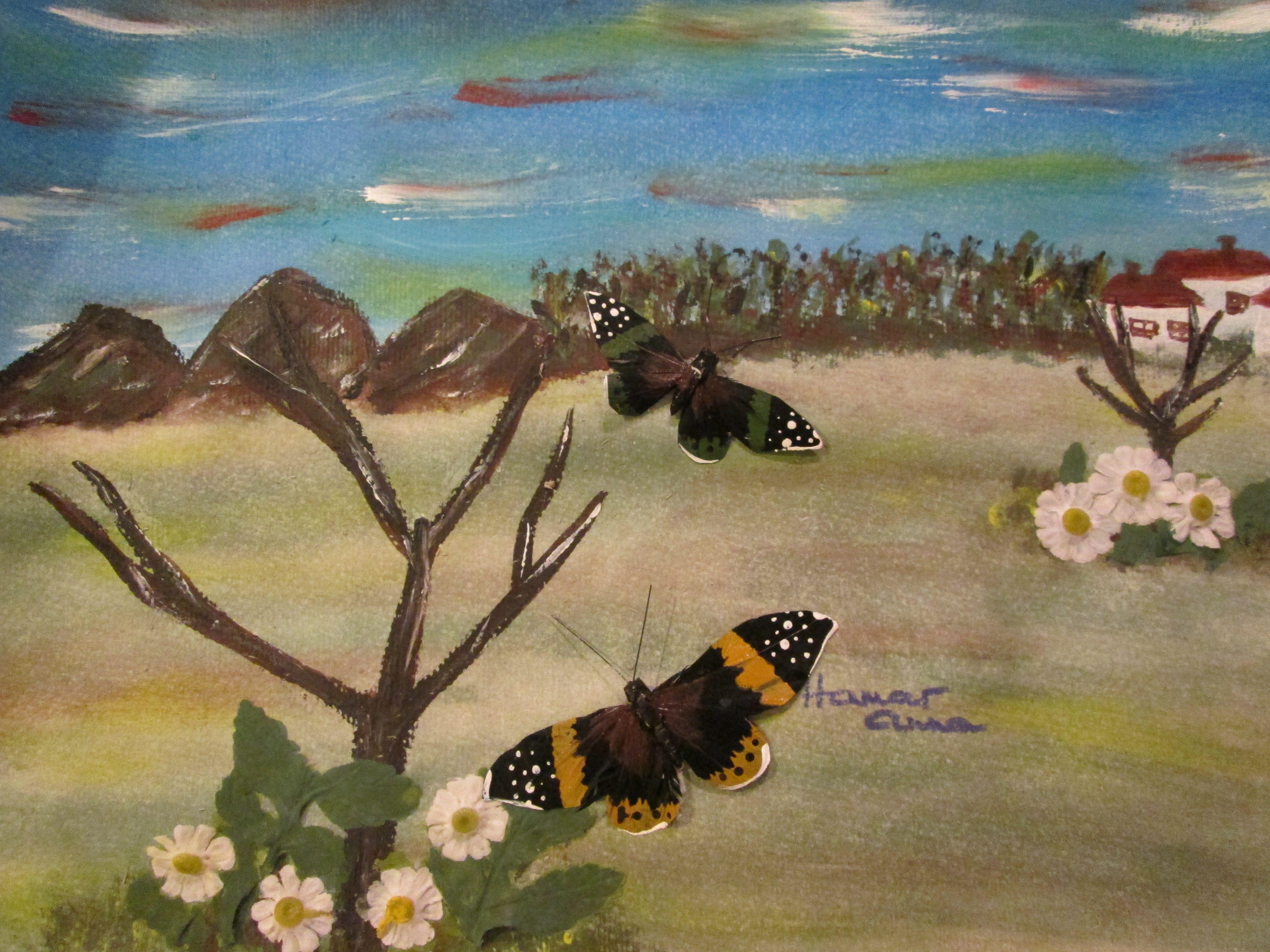 """""""Pillangók tánca"""". 3D. Akril, papíron. 30 x 40cm."""