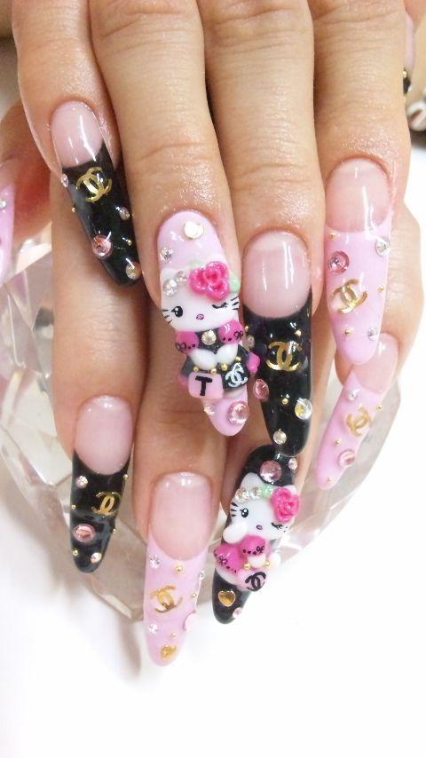 kitty nail art design
