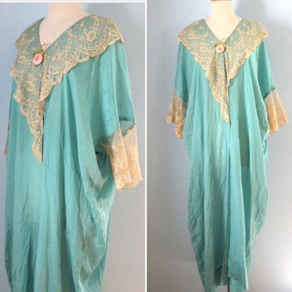 1920s silk dressing gown / 20s aqua silk and lace cocoon nightgown ...