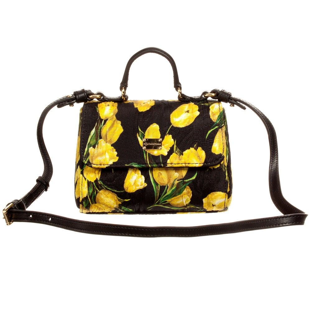Girls black and yellow tulip print shoulder bag by Dolce & Gabbana. This…