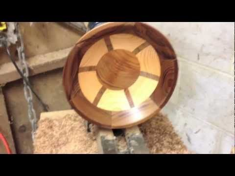 Making a segmented bowl on the wood lathe