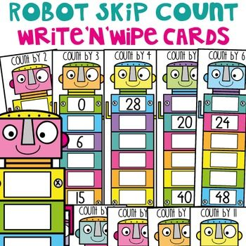 Skip Counting Activity Cards: Robot ThemePrint and laminate these 88 cards (or a selection of them) to help your students practice skip counting by 2, 3, 4, 5, 6, 7, 8, 9, 10, 11 and 12.There are 8 activity cards for each counting number set. They need to write each answer with a dry erase marker - or use with a worksheet and record on paper.Included in this packet is recording worksheets, instructions and a cover page (to use at the front go your organisational pockets and pouches). $4.00