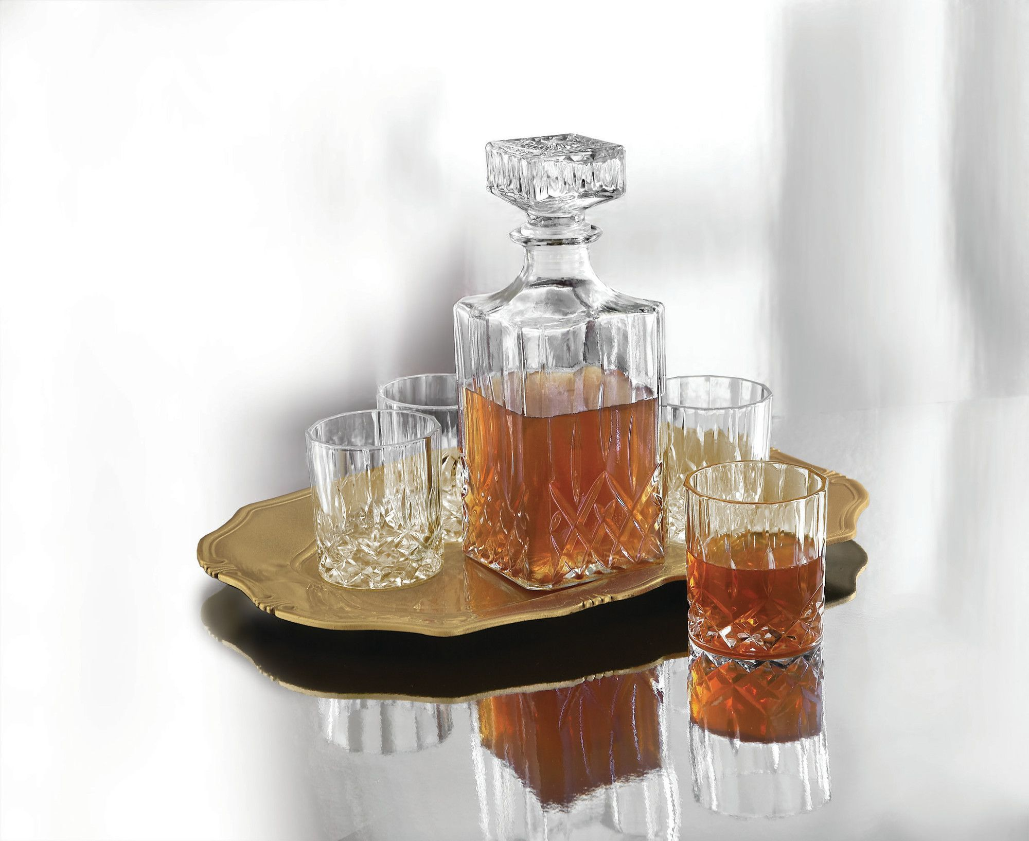 Cabinet Of Denmark Denmark Fitz And Floyd 6 Piece Decanter Tray And Glass Whiskey