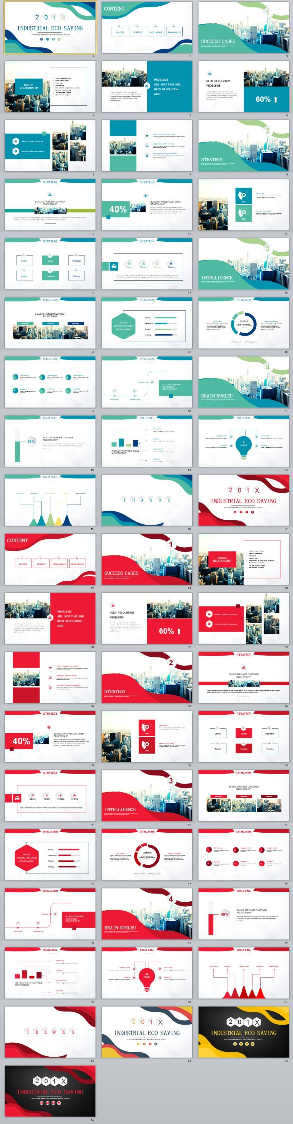 2 In 1 Blue Red Industrial Eco Saving Powerpoint Template Template