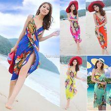 SH Deep V Wrap Chiffon Sexy Swimwear Bikini Cover Up Sarong Beach Dress Colorful