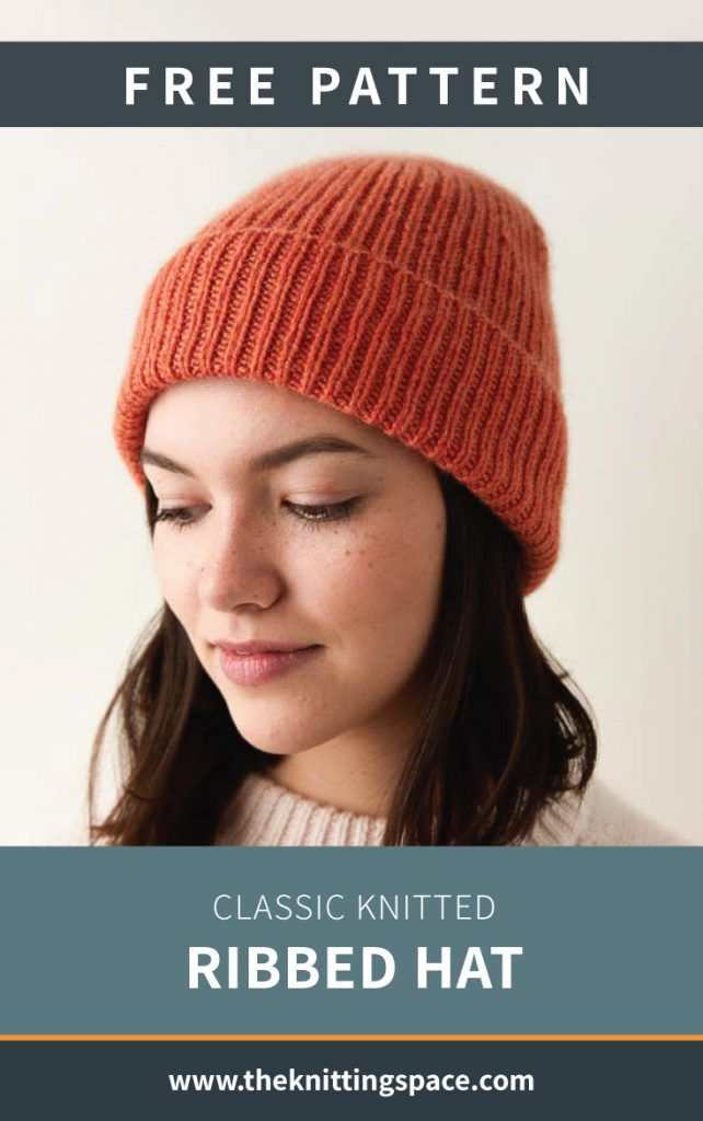 Classic Knitted Ribbed Hat [FREE Knitting Pattern]