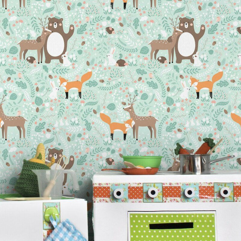 Forest Friends with Forest Animals SemiGloss Wallpaper