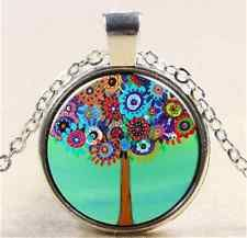 Unique Jewelry - Vintage Tree Cabochon Tibetan silver Glass Chain Pendant Necklace NEW