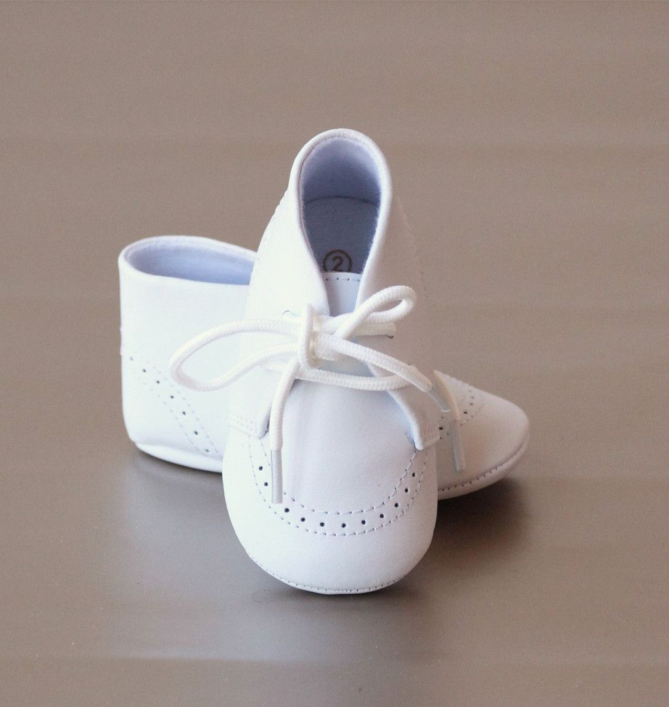 9e3db2e9d L Amour Infant Boys White Leather Boot Crib Shoe. A handsome lace up crib  boot with fine stitch detailing ...