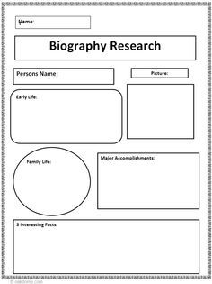 Biography research graphic organizer 1865 present for Historical biography template