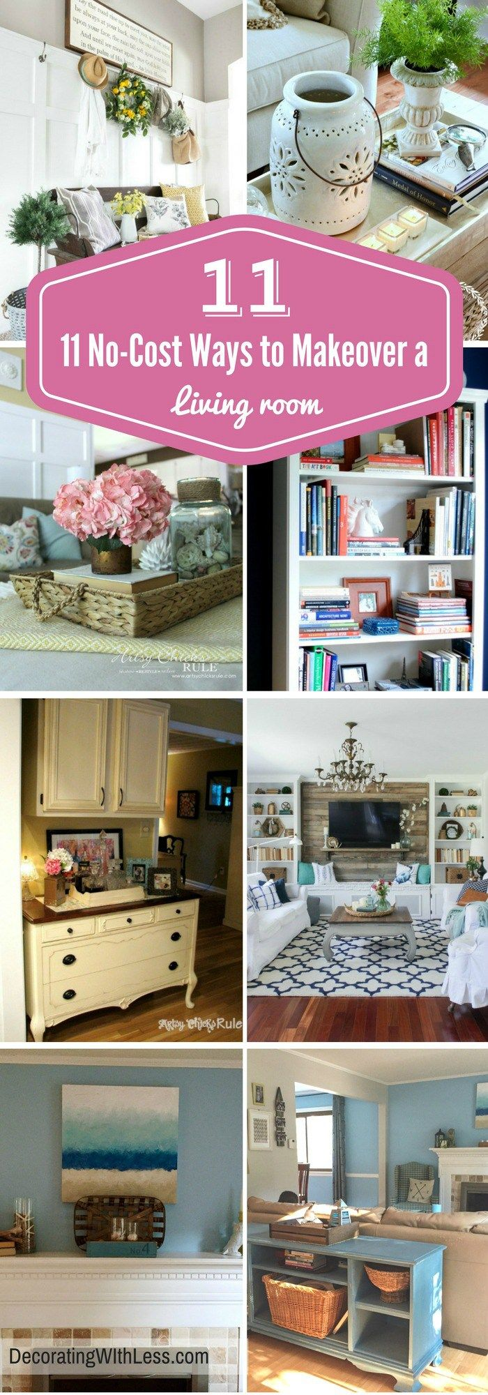 11 No-Cost Ways to Makeover a Living Room - Decorating With Less