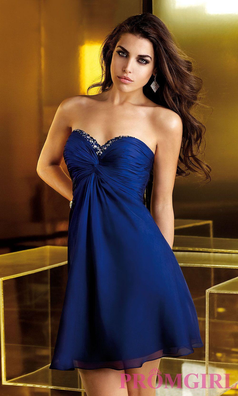 Short Strapless Blue Dresses, Alyce Blue Cocktail Dress- PromGirl ...