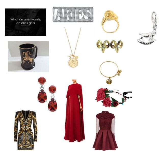 """""""Aries"""" by ariscaprice ❤ liked on Polyvore featuring Alex and Ani, Tai, Valentino, Balmain and Chi Chi"""