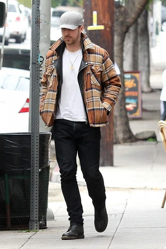 4c4e00f21e8 Ryan Gosling wearing Dr. Martens 1460 Boots in Black and Levi s 511 Slim  Fit Jeans in Nightshine