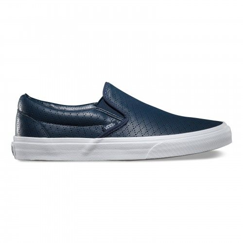 77f2964bdfe6 Vans Classic Slip-On Shoes (Diamond Perf) Dress Blues Leather